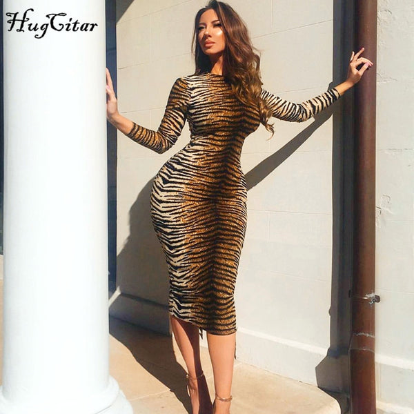 Hugcitar leopard print long sleeve slim bodycon sexy dress 2019 autumn winter women streetwear party festival dresses outfits - JumieGee