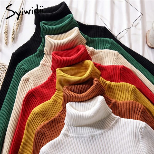 Stretch Women Sweaters Turtleneck Pullovers soft Primer Shirt Long Sleeve Korean Slim-fit Tight Sweater 2019 Autumn Winter Solid - JumieGee