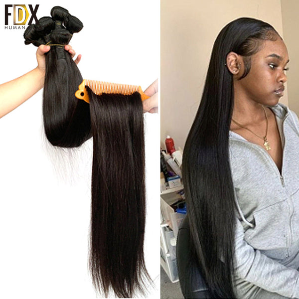 FDX brazilian straight hair bundles deal 1/3/4pcs Long human hair extensions weave 28 30 inch 32 34 36 38 40 Inch sliky remy - JumieGee