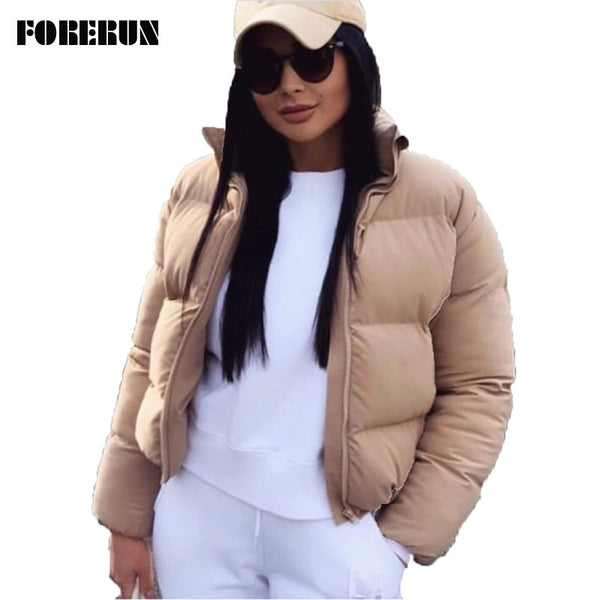 FORERUN Fashion Bubble Coat Solid Standard Collar Oversized Short Jacket Winter Autumn Female Puffer Jacket Parkas Mujer 2019 - JumieGee