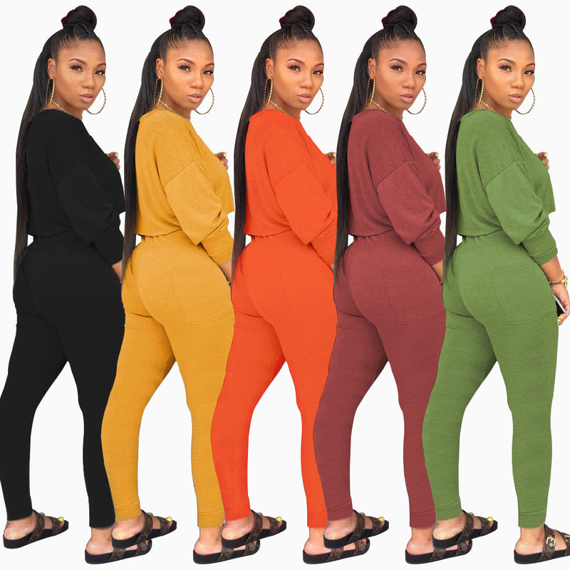 Autumn O-neck Two Pieces Set Long Sleeve Sweatshirt + Pant Suits - JumieGee