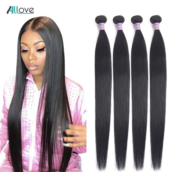 Allove Straight Hair Bundles Brazilian Hair Weave Bundles 100% Human Hair Bundles Natural Color Non Remy Hair Weave 1/3/4 Pieces - JumieGee