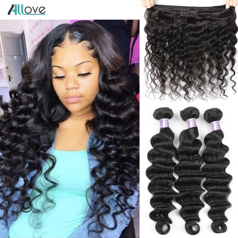 Allove Loose Deep Wave Bundles Peruvian Hair Bundles Human Hair Extensions 1/3/4 Bundles Deals Non Remy Hair Weave Bundles Weft - JumieGee