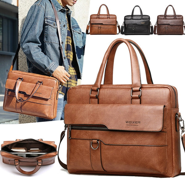 Retro Men Solid Color Bag Faux Leather Briefcase - JumieGee