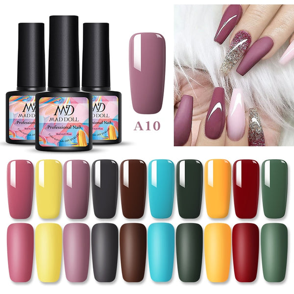 1 Bottle 8ml MAD DOLL Fall And Winter Colors Nail Gel Polish Soak Off UV LED Nail Art Gel Varnish DIY Manicure Colors - JumieGee