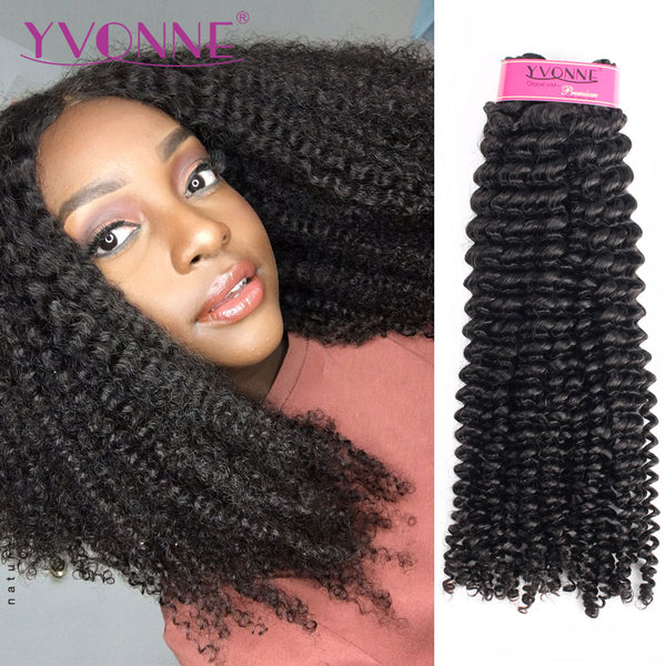 YVONNE Kinky Curly Virgin Brazilian Hair Weave 4A 4B Unprocessed Human Hair Bundles Natural Color - JumieGee