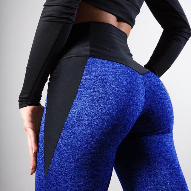 Black Gray Patchwork Fitness Leggings Women's High Waist Push Up Skinny Pants Elasticity Workout Thick Leggings For Women 2019 - JumieGee