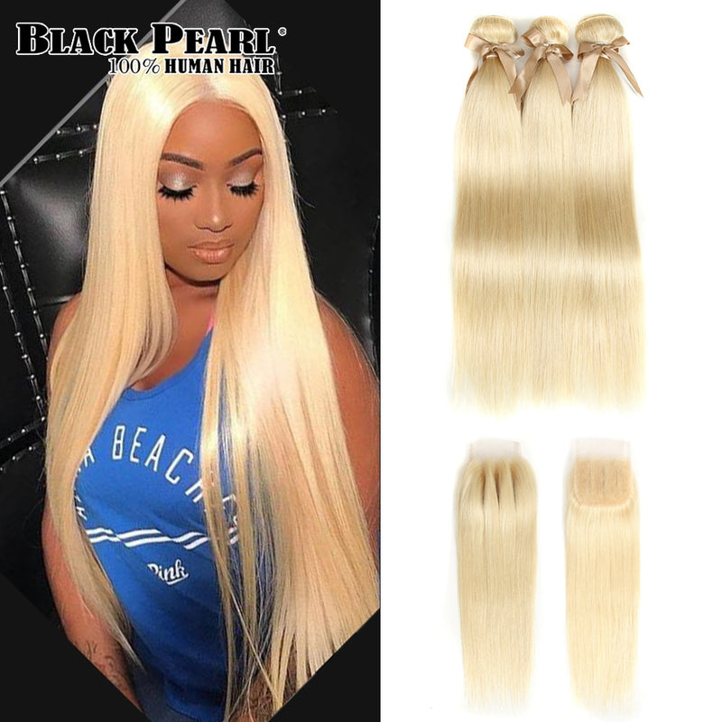 Black Pearl Honey Blonde Bundles With Closure Brazilian Remy Straight Human Hair 613 Bundles With Closure Free Shipping - JumieGee