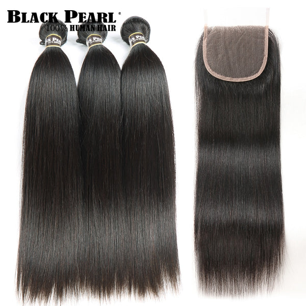 Black Pearl Straight Hair Bundles With Closure Non Remy Human Hair 3 Bundles With Closure Peruvian Hair Bundles With Closure - JumieGee