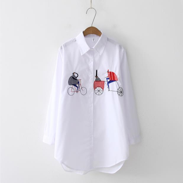 2019 NEW White Shirt Casual Wear Button Up Turn Down Collar Long Sleeve Cotton Blouse Embroidery Feminina HOT Sale T8D427M - JumieGee