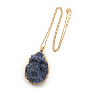 KRYSTAL DRUZY PENDANT NECKLACE