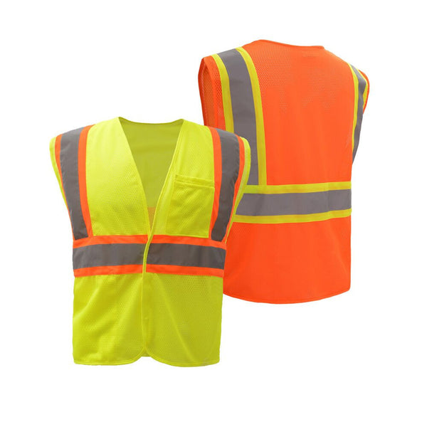 High Quality Workers Class 2 Two Tone Mesh Hook & Loop Vest