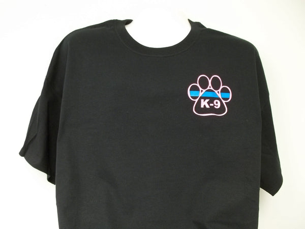 Blue Line K-9 Paw with Neon Blue Line T-Shirt