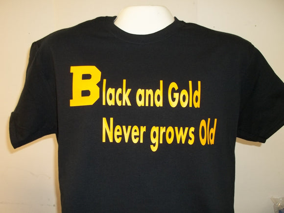 Black and Gold Never Grows Old Boston Bruins with Stanley Cup years T-Shirt