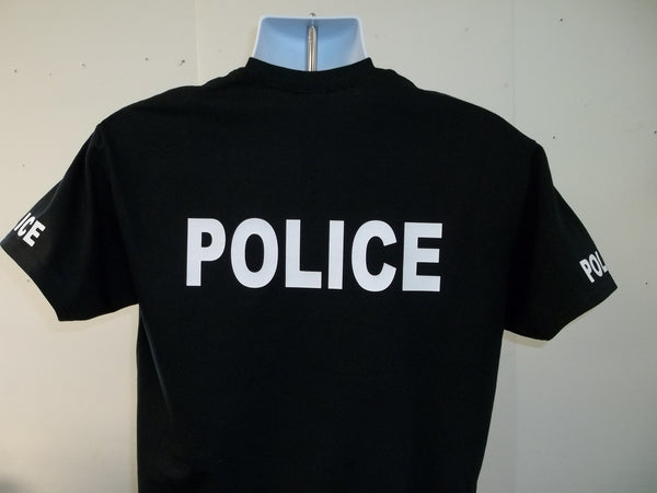 police t shirt printed front back and both sleeves with your choice