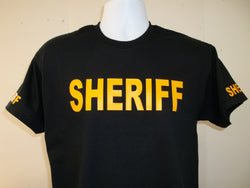 Sheriff Tee T-Shirt Printed Front, Back and Both Sleeves with Your Choice of Colors, Free Shipping in USA