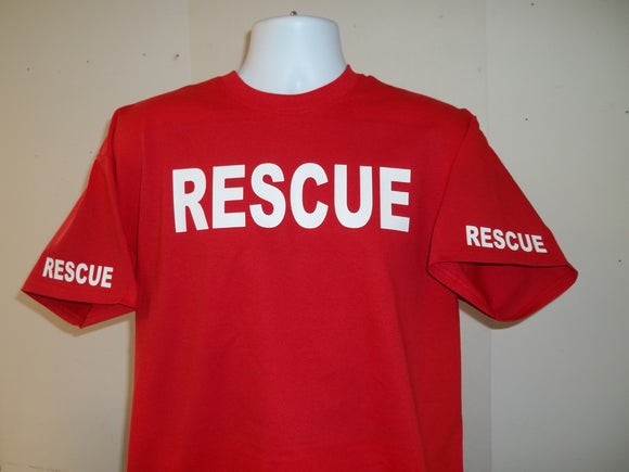 Rescue FireFighter SAR T-Shirt Printed Front, Back and Both Sleeves with Your Choice of Colors on 100% cotton, Free Shipping in USA
