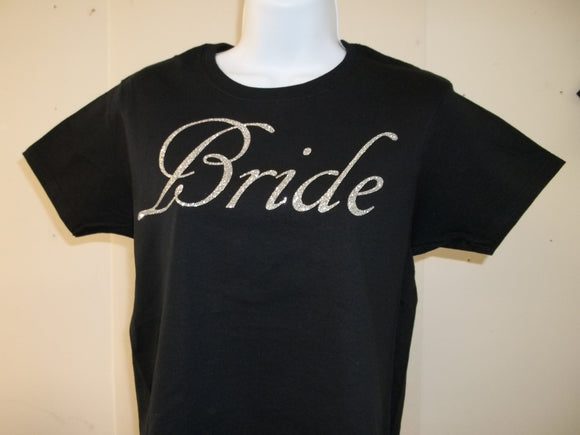Bride Bling Silver Diamond Look Bachelorette Bridesmaid Wedding Party T-Shirt Free Shipping in USA