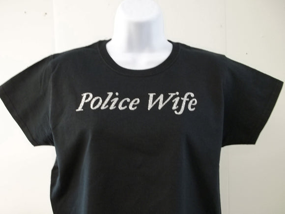 Police Wife Bling Style Ladies Cut Womens T-Shirt Free Shipping USA