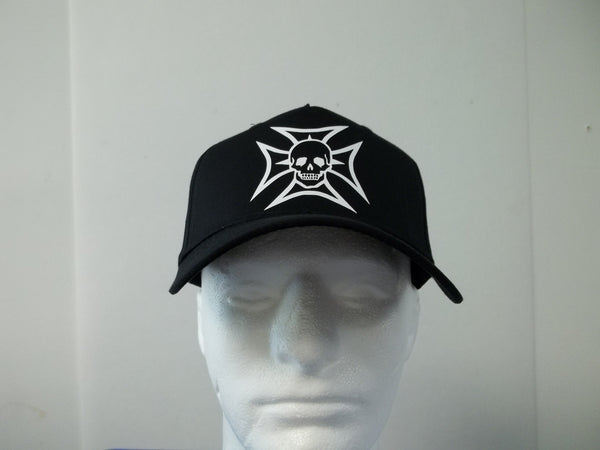 SKULL IN CHOPPER CROSS 5-Panel BIKER Baseball Hat Cap Choose Your Colors and Free Shipping in USA