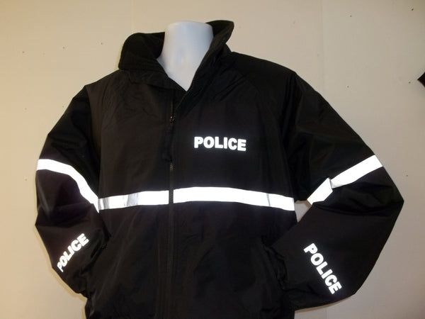 3M Reflective Police or Sheriff Jacket with Reflective Striping, Black or Navy Blue