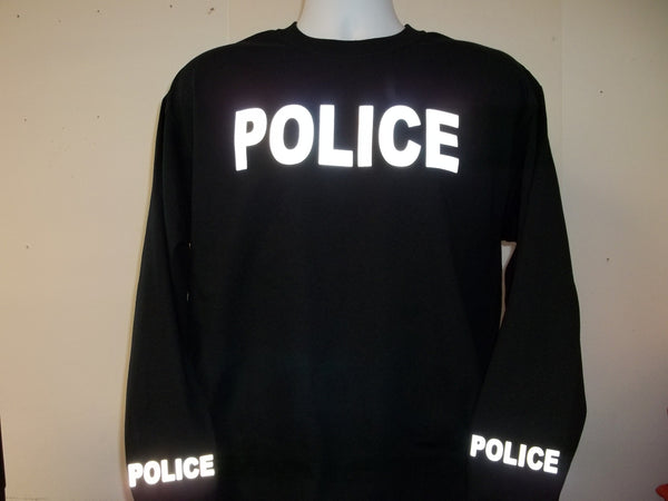 Reflective Long Sleeve T-Shirt Your Choice of Police or Sheriff w Free Shipping in USA