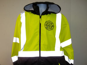 Reflective Fire Rescue Maltese Cross Firefighter Raincoat Windbreaker Jacket
