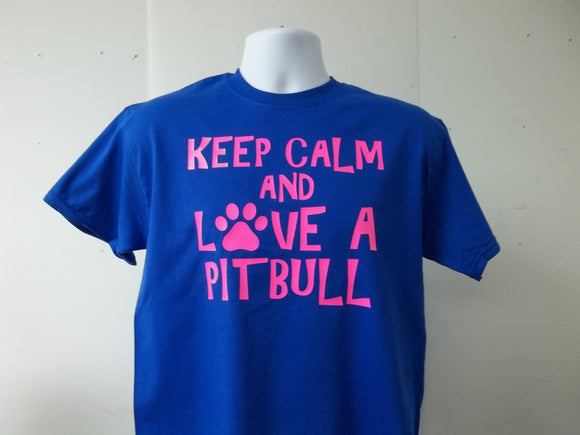 Keep Calm and Love a PitBull Paw T-Shirt