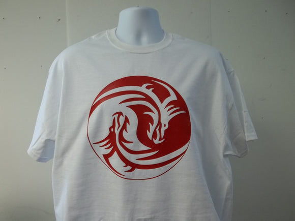 Yin and Yang Good and Bad Dragons Symbol Logo T-Shirt