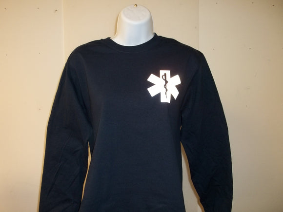 3M Reflective Star Of Life EMT EMS Paramedic Long Sleeve T-Shirt