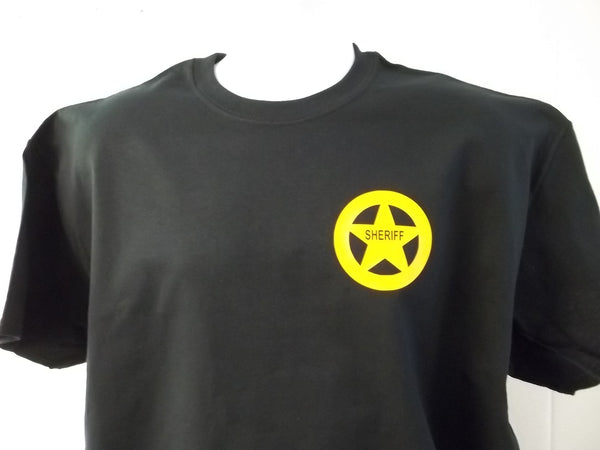Sheriff Badge T-Shirt Printed Front, Back and Both Sleeves with Your Choice of Colors, Free Shipping in USA