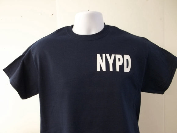NYPD T-Shirt Printed Front, Back and Both Sleeves with Your Choice of Colors, Free Shipping in USA