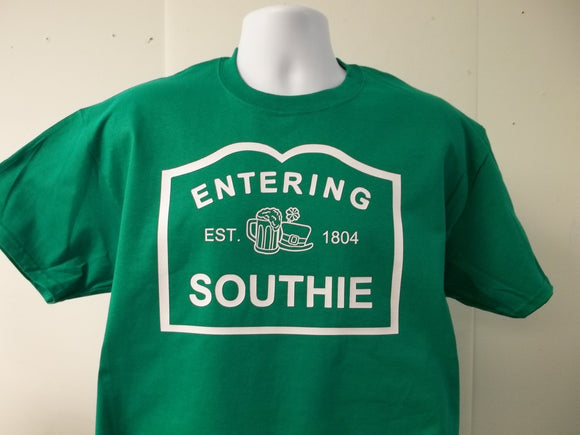 Entering Southie Irish Boston St. Patrick's Day Style Beer Logo T-Shirt