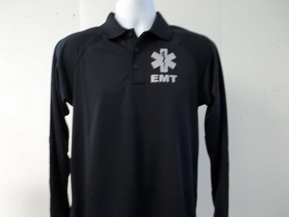 Star of Life EMS, EMT Reflective Tactical Polo Long Sleeve Shirt