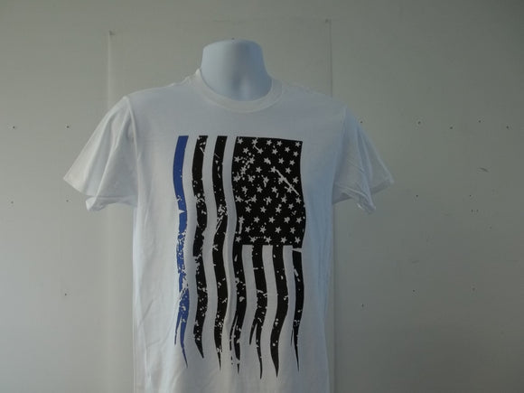 Police Blue Line Sublimated Vertical American Flag T-Shirt