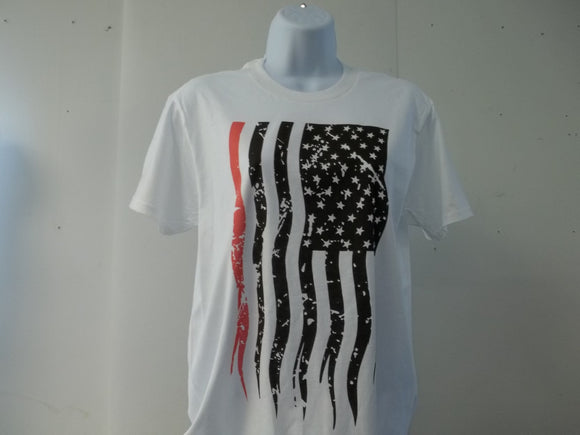 Firefighter Red Line Sublimated Vertical American Flag T-Shirt