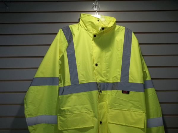 Class 3 Lime Green Economy Safety Rain Coat