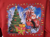 Custom Printed Ugly Christmas Party Sweater, Tree Sleigh Presents