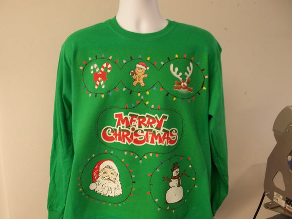 Custom Printed Ugly Christmas Party Sweater, CandyCane GingerBread Man