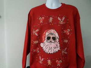 Custom Printed Ugly Christmas Sweater, Santa Aviator