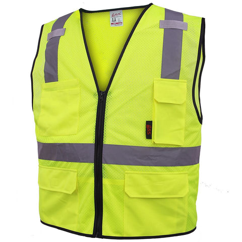 High Quality Polyester Class 2 Multi-Purpose Vest w/ 6 Pockets