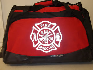 Custom 3M Reflective Printed Rescue Fire Department Maltese Cross Duffel Bag