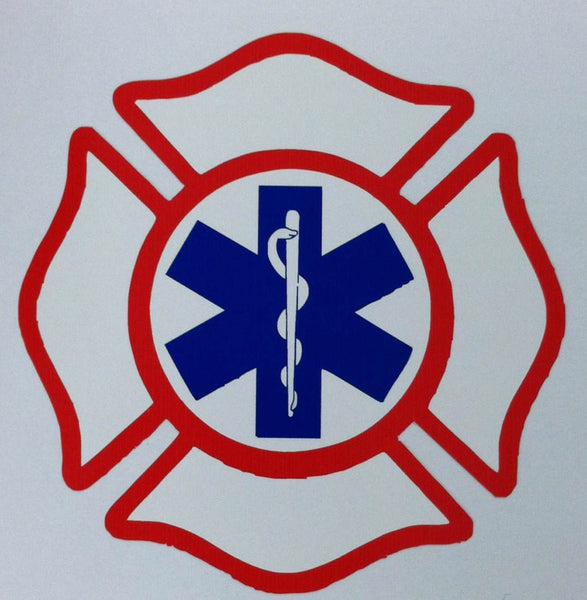 Maltese Cross with Star of Life 3.75 Inch Decal