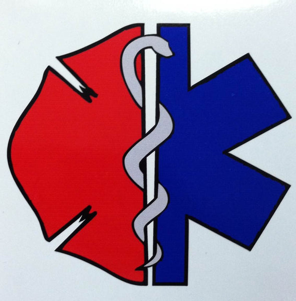 Star of Life Maltese Cross with Snake 3.75 inch Decal