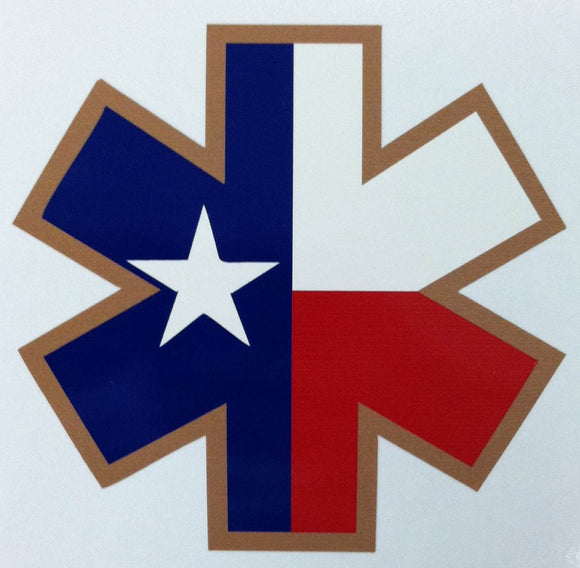 Star of Life Texas 4 Inch Decal