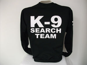 Search And Rescue L/S K9 T-Shirt, Search Team,,,,bk,,SM