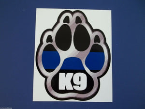 "Blue Line Silver K-9 Paw Decal, 3.5"" Free Shipping, Blue Line Decal"