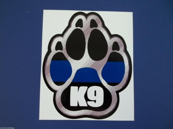 Blue Line Silver K-9 Paw Decal, 3.5