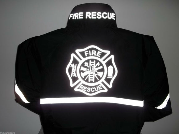 Reflective Firefighter Jacket with Reflective Striping, Fire Rescue Black/Navy