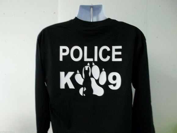 K-9 Handler Police Long Sleeve T-Shirt, Choice Of Shirt Color and Print Colors